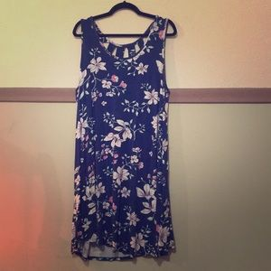Navy blue dress with pink flowers